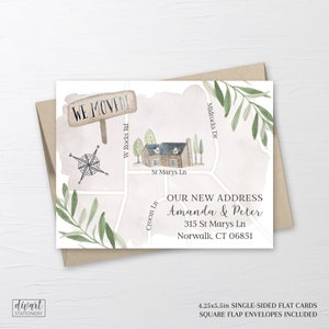 I moved announcement march moving new address card green watercolor shamrock address change announcement Shamrock moving announcement