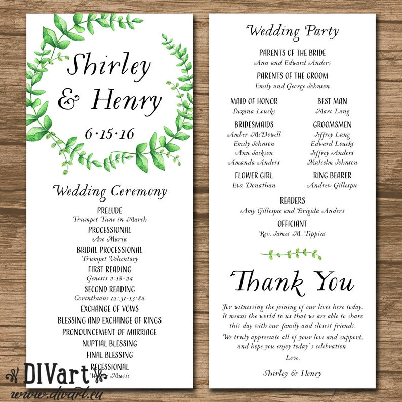Wedding Ceremony Program.Wedding Program Ceremony Program Printable Or Printed Order Of Events Wedding Ceremony Garden Wedding Leaves Spring Shirley