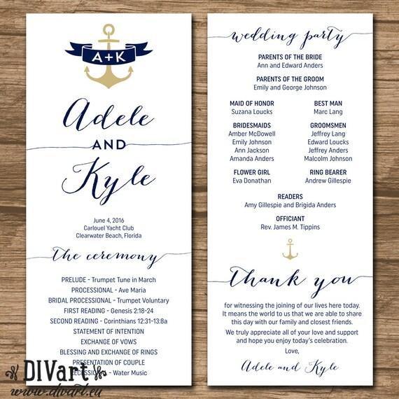 nautical wedding program order of ceremony ceremony program etsy