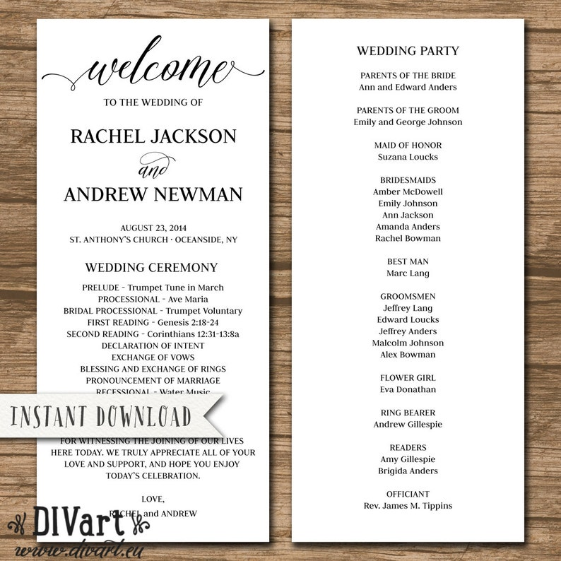Wedding Ceremony Order.Rustic Wedding Program Wedding Ceremony Order Of Events Template Editable Pdf File Instant Download Rachel