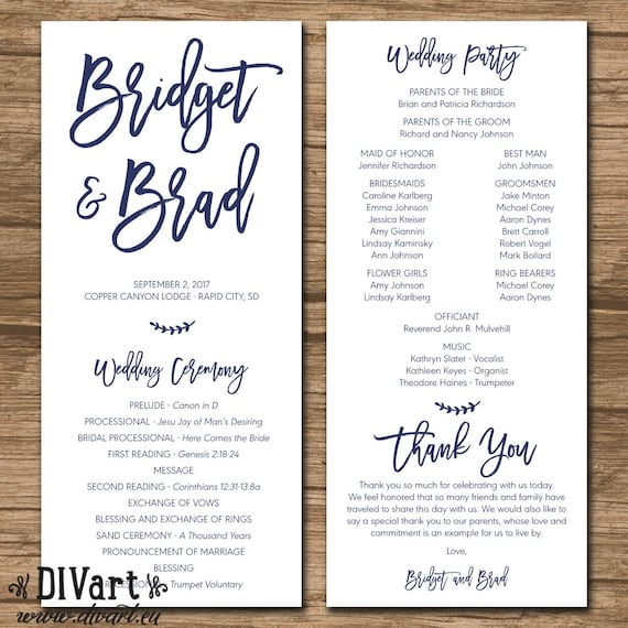 Wedding Program Ceremony Program Printable Files Rustic Etsy