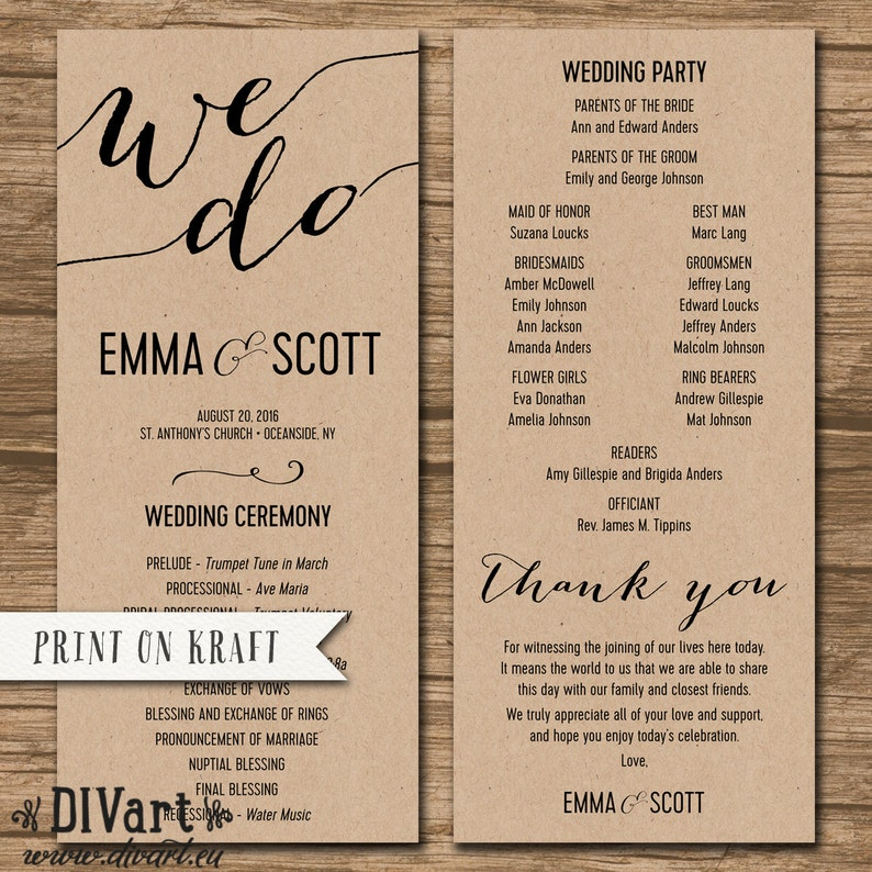 Wedding Ceremony Order.Wedding Program Ceremony Order Printable Or Printed Order Of Events Simple And Elegant Modern Any Color Size Font Emma