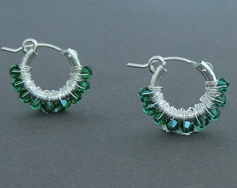 Wire Wrap Emerald Hoop Earrings, Small Hoop Earrings, May Birthstone, Delicate Earrings, Gift For her, Sterling Silver