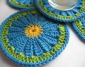 Items Similar To Crochet Coasters Blue Daisy Set Of 5