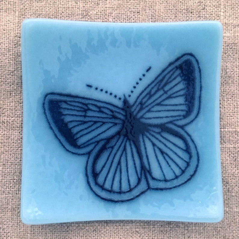 Butterfly Eco-friendly Fused Glass Plate 3 colors available Glacier Blue/Navy