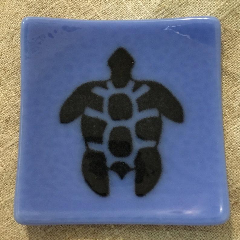 Turtle Eco-friendly Fused Glass Slumped Plate 3 colors Periwinkle/Black