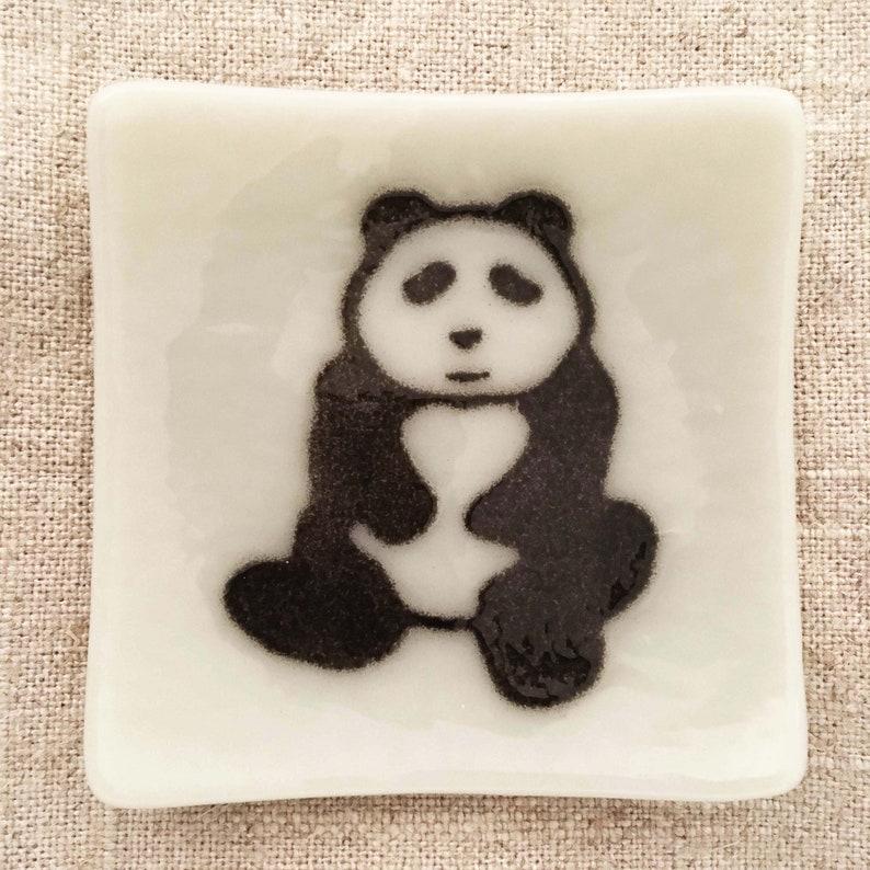 Panda Eco-friendly Fused Glass Plate image 0