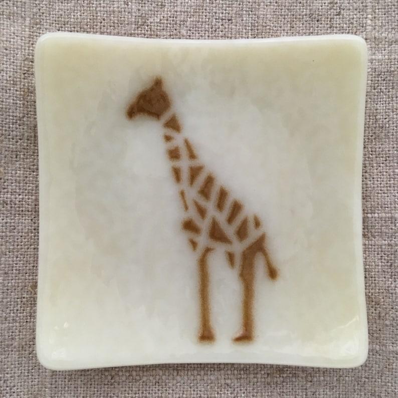Giraffe Eco-friendly Fused Glass Slumped Plate image 0