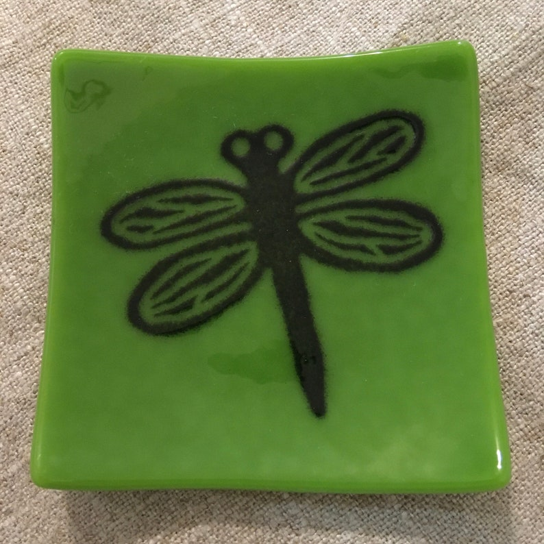 Dragonfly Eco-friendly Fused Glass Plate 3 colors available Peapod/Black