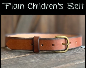 """Plain Full grain Leather Belt Kids/Children's/toddlers from infants to size 28"""" Great Gift Hand-made, Personalized w/name or initials"""