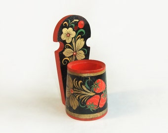 Vintage Wooden Cup for Wall Decor, Hand Painted Khokhloma - Russian Folk Art