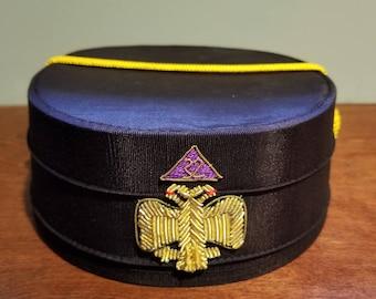 777124814d2 Vintage Lauterer Freemason Scottish Rite Double Eagle Fraternal Lodge  Regalia Cap Hat Size 7 1 4