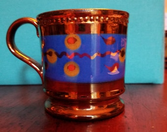 6b55ed548cc Vintage English Hand-Painted Copper Lustre Blue Banded Cup Mug with Raised  Relief Trim and modern dot motif