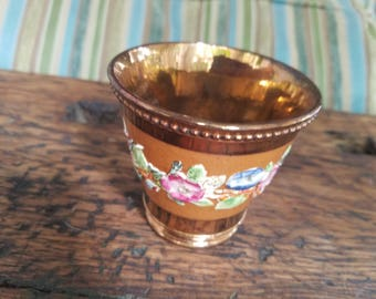 53988276864 Beautiful Vintage English Hand-Painted Copper Lustre Floral Banded Cup Mug  Pot with Raised Relief Trim Elegant