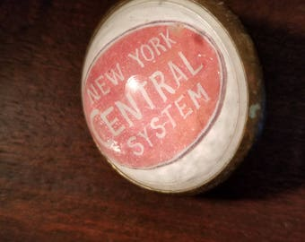 Vintage Single Paperweight Style Horse Bridle Rosettes New York Central System Railroad Domed NY