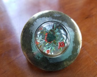Early Vintage Paperweight Style Horse Bridle Rosette Flowers Roses Domed Silver Botany