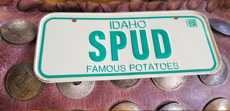 Vintage 1982 Mini Automobile Tin License Plate Idaho State Souvenir