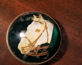 Vintage Single Paperweight Style Horse Bridle Rosette Horse Head Portrait Scene Domed as-is