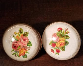 Vintage Pair Paperweight Style Horse Bridle Rosettes Flowers Roses Domed Botanical Floral Ladies