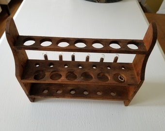 Vintage Scientist Laboratory Chemists Medicinal Wooden Test Tube Rack with 6 Glass Test Tubes Holds 19