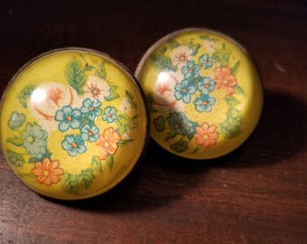 Vintage Pair Paperweight Style Horse Bridle Rosettes Flowers Forget-me-Not's Domed Botanical Floral Ladies