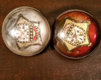 Rare WMA West Point Military Academy Pair Paperweight Style Horse Bridle Rosettes Royal Domed