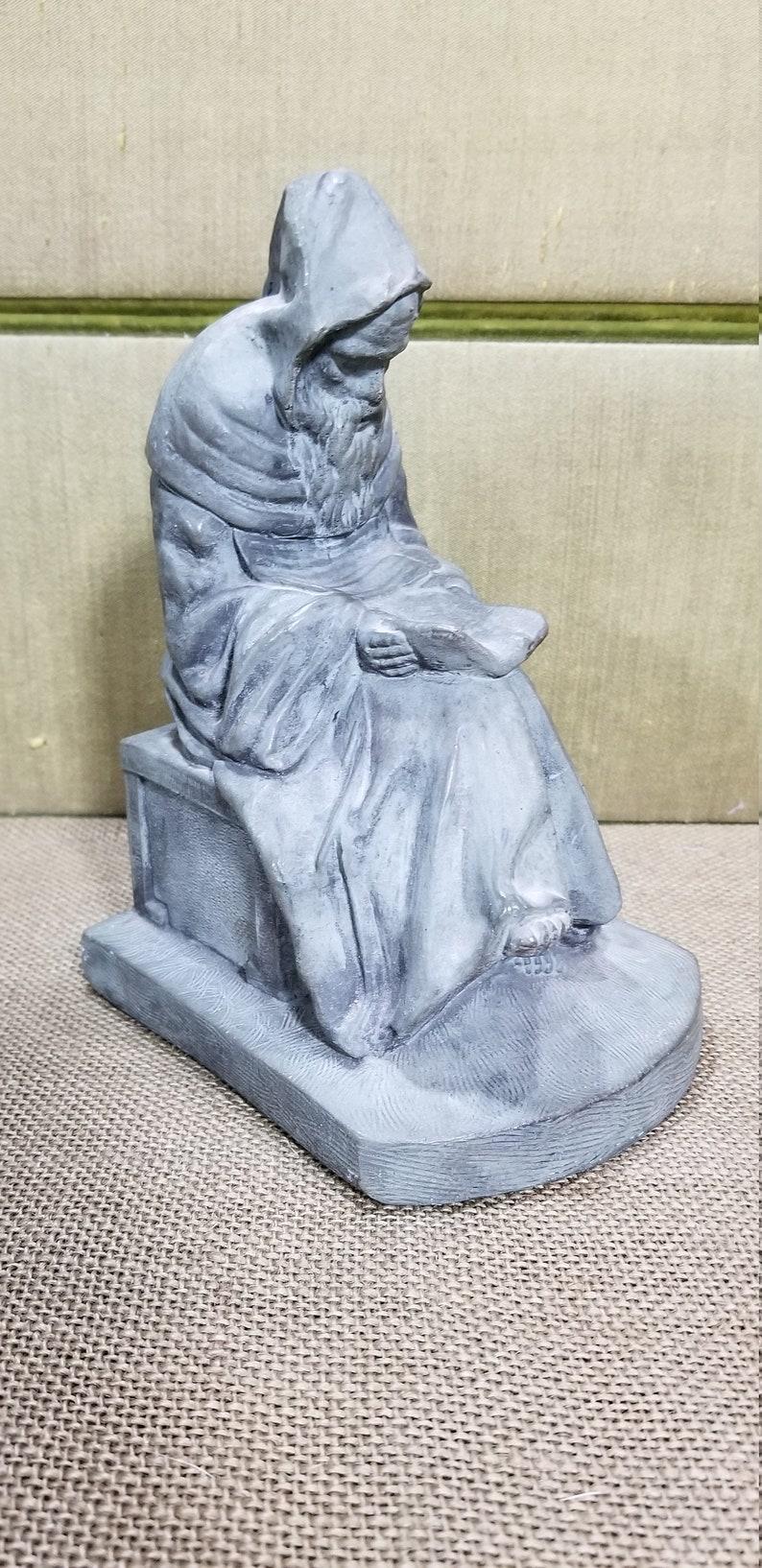 1972 Mike Makras Cincinnati Ohio Artwork English Stone Type Architectural Gothic Statue Human Figural Monk Reader Bookend