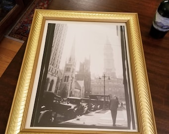 Vintage New York City Scene 9 x 12 Black and White Photograph in Frame