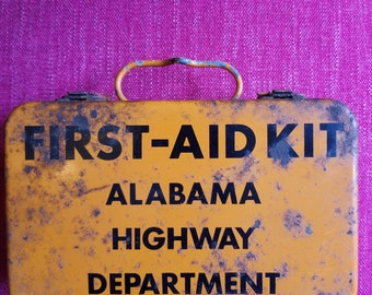 Cool Circa 1940's Alabama Highway Department First Aid Kit Box No Contents