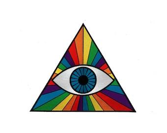 "THIRD EYE  PRISM Giant 11"" Back Patch - Spectrum Rainbow Hipster Pastel Goth Rainbow Rock Raver Rave Bohemian Denim Jacket Jean Hipsters Emo"