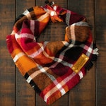 AUTUMN SPICE - Dog Bandana (Yarn Dyed Flannel, Frayed Edge, Tie and Snap)