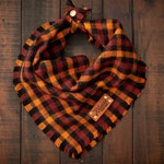 FALL HARVEST - Dog Bandana (Yarn Dyed Flannel, Frayed Edge, Tie and Snap)