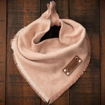 DUSTY ROSE - Dog Bandana (Yarn Dyed Flannel, Frayed Edge, Tie and Snap)