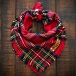 HOLIDAY CHEER - Dog Bandana (Yarn Dyed Flannel, Christmas, Xmas, Winter, Frayed Edge, Plaid, Tie and Snap)