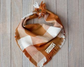 PUMPKIN SPICE - Dog Bandana (Fall, Autumn, Orange, Flannel, Frayed Edge, Tie and Snap)