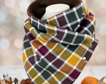 """Cowl Neck Scarf """"Cider House"""" (Dog Mom Fashion, Match Your Dog, Matching Scarf, Family Photos, Neckwarmer, Fall Cozy Flannel, Autumn Plaid)"""