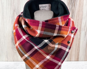 "Cowl Neck Scarf ""Autumn Spice"" (Dog Mom Fashion, Match Your Dog, Matching Scarf, Family Photos, Neckwarmer, Fall Cozy Flannel, Autumn Plaid)"