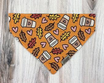 "Dog Bandana ""Pumpkin Spice Latte"" (Fall Dog Bandana, Autumn Coffee, Pupaccino, Coffee Lover, Folliage, Orange Puppy Scarf, Over the Collar)"
