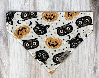 "Dog Bandana ""Spooktober"" (Halloween Dog Bandana, Black Cat, Spooky Pumpkin, Owl, Oddities and Curiosities, Puppy Scarf, Over the Collar)"