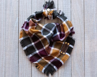 CIDER HOUSE - Dog Bandana (Fall, Autumn, Rustic, Plaid, Yarn Dyed Flannel, Frayed Edge, Tie and Snap)