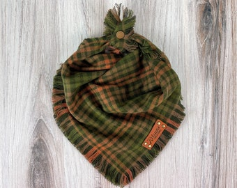 """Dog Bandana """"First Day of Fall"""" (Fall Dog Bandana, Autumn Scarf, Checkered Plaid, Changing Leaves, Folliage, Frayed Flannel, Button Snap)"""