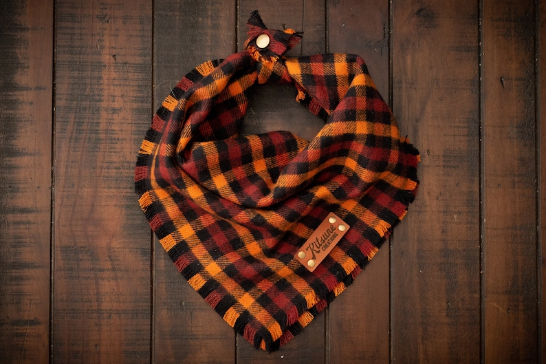 FALL HARVEST  Dog Bandana Yarn Dyed Flannel Frayed Edge image 0