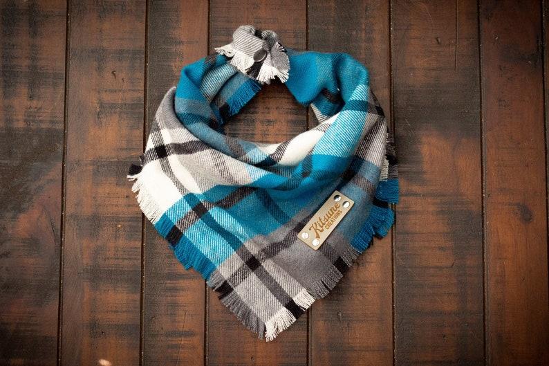 HARRINGTON  Dog Bandana Yarn Dyed Flannel Frayed Edge Tie image 0
