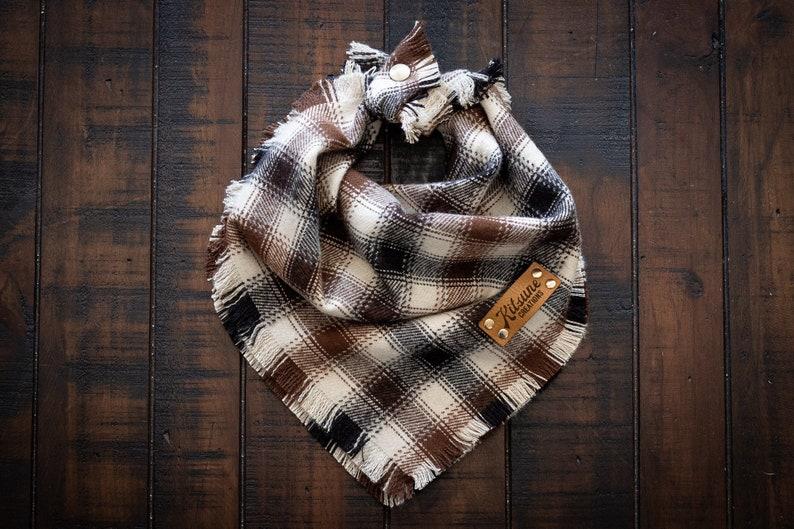 MOCHACCINO  Dog Bandana Yarn Dyed Flannel Frayed Edge Tie image 0