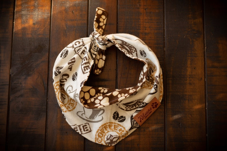Coffee and Paw Print  Dog Bandana image 0