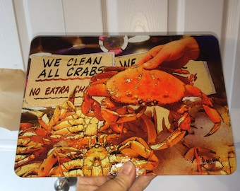 Glass Cutting Board - Dungeness Crab - 7.75in  x 10.75in