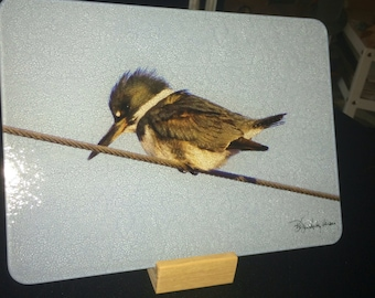 Glass Cutting Board - Kingfisher 12in x 15in