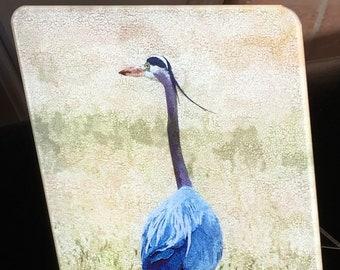 Blue Heron Tall - Glass Cutting Board  7.75in  x 10.75in