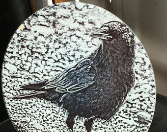 Round Glass Cutting Board Large - Black & White Crow - 12 in diameter