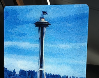 Space Needle with 12 Flag - Glass Cutting Board - Large - 12 x 15